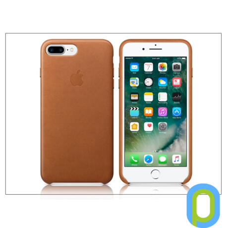 Apple iPhone 7 Plus/iPhone 8 Plus eredeti gyári bőr hátlap - MMYF2ZM/A - saddle brown
