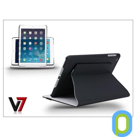 Apple iPad Air tok on/off funkcióval - V7 Slim Rotating Case and Stand - fekete