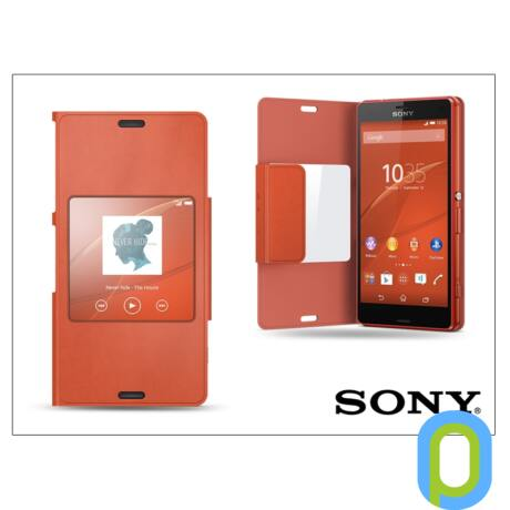 Sony Xperia Z3 Compact (D5803) gyári flipes tok - SCR26 Style Cover Window - orange