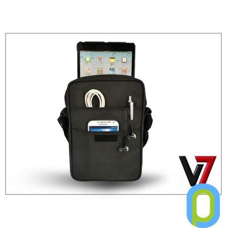 """Univerzális tablet táska 8.1"""" méretű készülékig - V7 Premium Messenger Bag - black"""