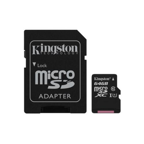 KINGSTON Memóriakártya MicroSDXC 64GB Canvas Select 80R C10 UHS-I + Adapter