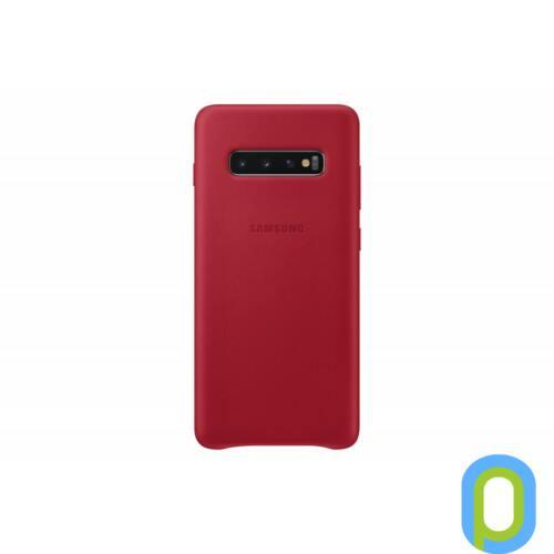 Samsung Galaxy S10+ bőr hátlap, Piros