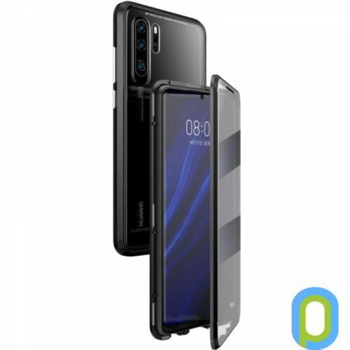 Mágneses telefontok, elő és hátlap,Huawei P30+, Fekete