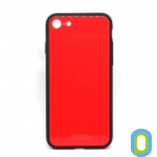 Üveghátlapos szilikon tok, iPhone X, Piros