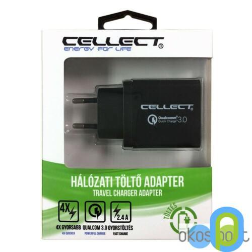 Cellect Hálózati töltő adapter 3A, fekete