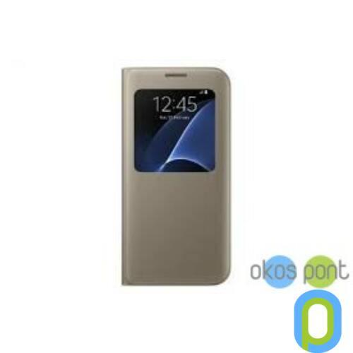Samsung Galaxy S7 Edge bőr Flip Cover tok, arany