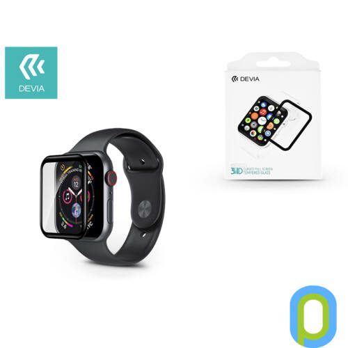 Apple Watch 4 képernyővédő üveg - Devia 3D Curved Full Screen Tempered Glass - 44 mm - black