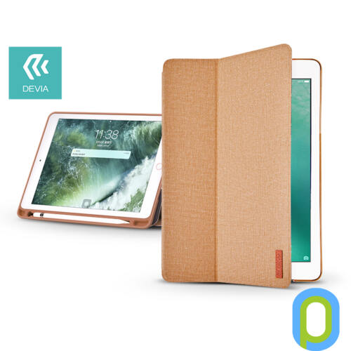Apple iPad 9.7 (2018) védőtok (Smart Case) on/off funkcióval, Apple Pencil tartóval - Devia Ease - brown